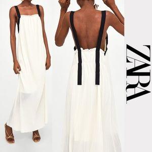 Zara Long Pleated Dress Contrasting Stripes NWT